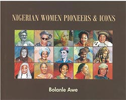 "book cover "" Nigerian women pioneers & iocns"""