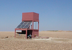 Solar panel for a well in the semi-desertic area of Rhamna, 50 km from Marrakech, Morocco (Source: Wikipedia, creator: L. Mahin)