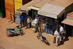 English: Shop for solar cell panels, Ouagadougou, Burkina Faso, West Africa (from roof of the Amiso hotel) (Source: Wikipedia, author: Wegmann)