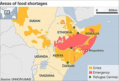 Map Areas of food shortages