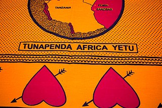 "Fragment of kanga from Kenya. With Swahili text: ""Tunapenda Africa yetu"" (We love our Africa)."