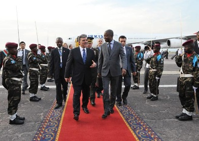 Turkish President Abdullah Gul visiting the DRC on 14 March 2010