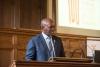 H.E. Mr. Bruce Koloane, Ambassador of South Africa to the Netherlands, gives an introduction to the centenary of Nelson Mandela. © Eelkje Colmjon-African Studies Centre Leiden