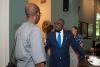 Prof. Chibuike Uche (ASCL) socializing with H.E. Mr. Oji N. Ngofa, Ambassador of Nigeria to the Netherlands. © Eelkje Colmjon-African Studies Centre Leiden